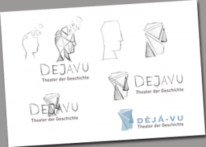 Erste Gedanken zu einem Logo für dejavu - Theater der Geschichte entstehen