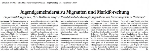 Jugendgemeinderat zu Migration und Marktforschung 21.11.2017