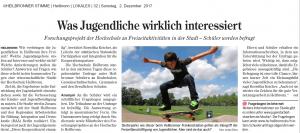 Was Jugendliche wirklich interessiert - Forschungsprojekt der Hochschule zu Freizeitaktivitäten in der Stadt - Schüler werden befragt