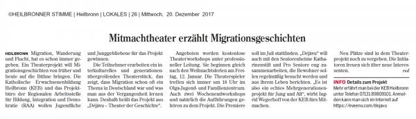 Mitmachtheater erzählt Migrationsgeschichten 20.12.2017
