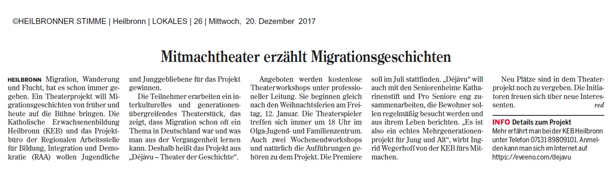 Mitmachtheater erzählt Migrationsgeschichten