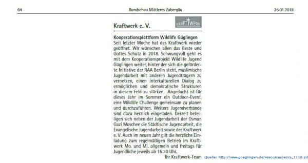 Kooperationsplattform Wildlife Jugend Güglingen in der Rundschau Mittleres Zabergäu
