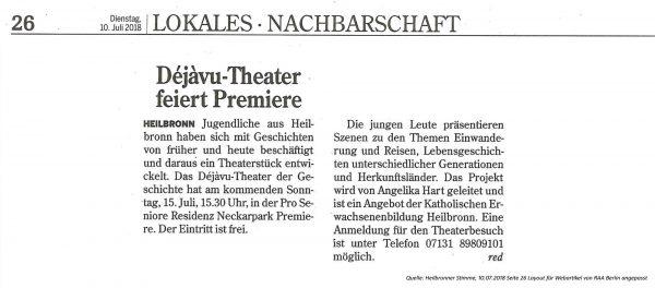 Déjàvu Theater feiert Première 10.07.2018