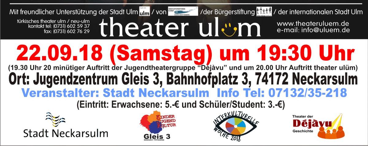 Theateraufführung im Gleis 3, Vorprogramm Dejavu, Interkulturelle Woche Neckarsulm 2018