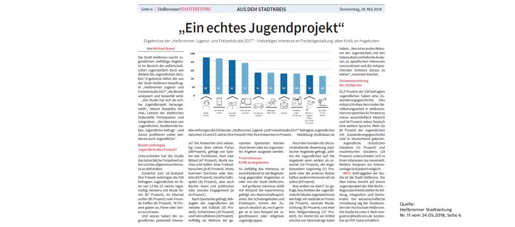Ein echtes Jugendprojekt - Artikel in der Heilbronner Stadtzeitung
