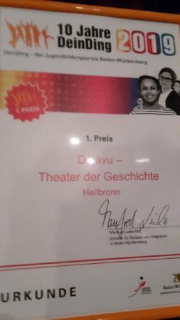 Urkunde DeinDing 2019 1. Preis